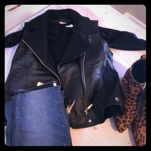 NWT Wild Pearl Faux Leather Moto Vest